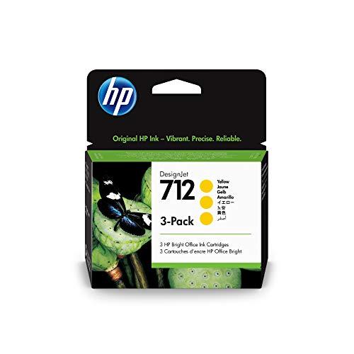 HP 712 3er-Pack Gelb 29 ml Original Druckerpatrone (3ED79A) mit originaler HP Tinte, für DesignJet T650, T630, T250, T230 & Großformatdrucker der Studio-Serie sowie den HP 713 DesignJet Druckkopf