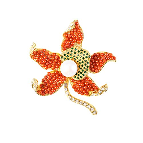 HXF Spider Brooch Sea Bamboo Coral Starfish Brooch High-end Retro Elegant Coat Cardigan Sweater Scarf Pin Jewelry Elegant (Color : Red, Size : 6065mm)