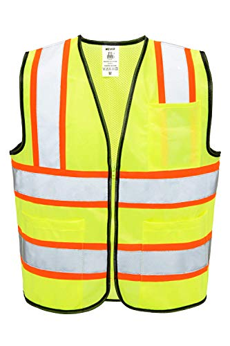 NEIKO 53992A High Visibility Safety Vest | XX-Large | 3 Pockets and Zipper | Neon Yellow