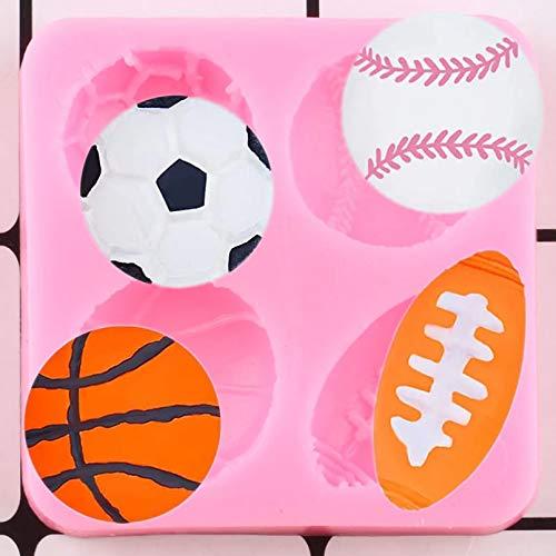 WYNYX Molde de Silicona de Bola de 4 cavidades, Molde de Silicona para fútbol, Baloncesto, béisbol, Rugby, Caramelo, Molde para Chocolate, decoración para Cupcakes, Herramienta de decoración