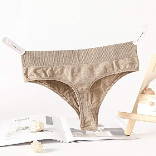 Heliansheng 2pcs / múltiples señoras Tanga de algodón Suave T Back Girls Sexy Bikini Bragas -Kakhi-M-C499