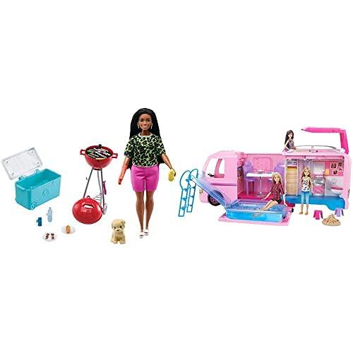 Barbie Set de Juego con Barbacoa Aromatizada, Perrito y Accesorios de Juguete para Muñecas (Mattel GRG76) y Caravana de Barbie (Mattel FBR34)
