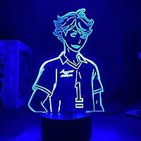 GMYXSW 3D Illusion LEDランプナイトライトアニメフィギュアハイキュック7色テーブルランプ誕生日プレゼント