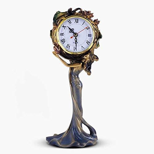 JKCKHA Brillante repisa relojes de escritorio estante relojes reloj decoración salón retro decoración mudo reloj resina 29x13.5x9.5cm
