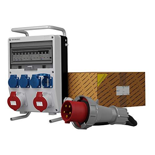 Stromverteiler TD-S/FI 2x32A 4x230 SKHU mit Kabel & Ständer Baustromverteiler Doktorvolt 0182