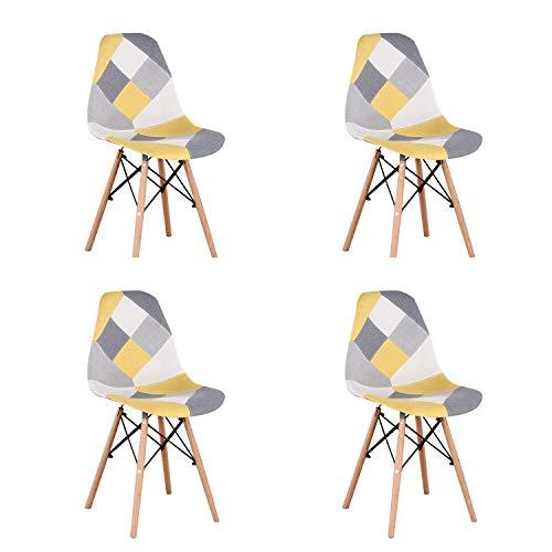 Un set con 4 sedie da pranzo in stile moderno patchwork in stile nordico imbottito con tessuto patchwork e sedia in legno in stile scandinavo (giallo)