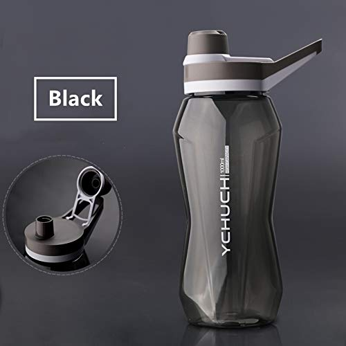 Gaodpz 1000 ml / 1500 ml de Gran Capacidad portátil Botellas Deportes acuáticos Gym Fitness Sports Shaker Botella de Agua de Bebida Ecológico Waterbottle (Capacity : 1000ml, Color : Black)