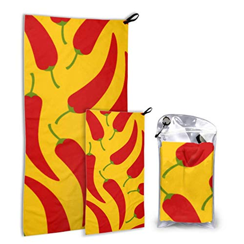 N\A Spicy Chili Red Funny Foods 2 Pack Microfiber Girl Beach Towel Large Beach Towel Set Fast Drying Best for Gym Travel Backpacking Yoga Fitnes