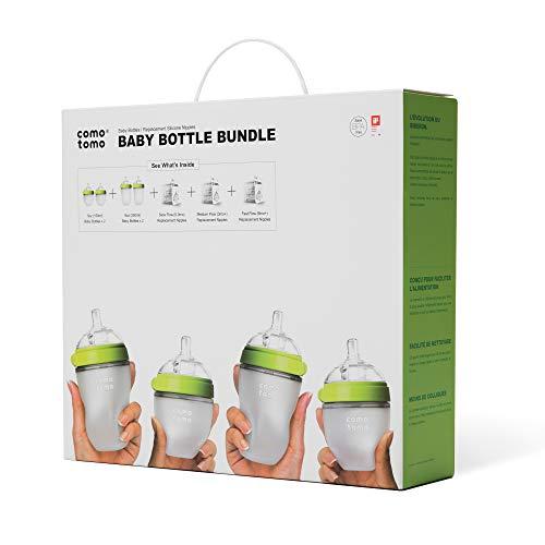 Comotomo Baby Bottle Bundle, Green