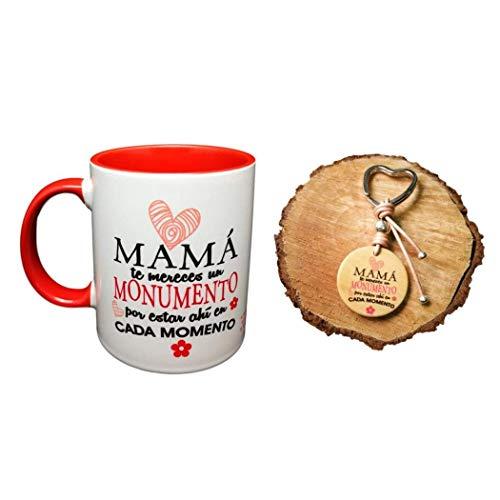 Taza Ceramica Color + Llavero Madera Frase Mama TE MERECES UN Monumento por Estar Ahi EN Cada Momento Regalo Madre Regalo MAMÁS