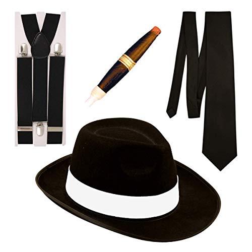 Gangster Fancy Dress 4 Stück Kostüm (Schwarz)