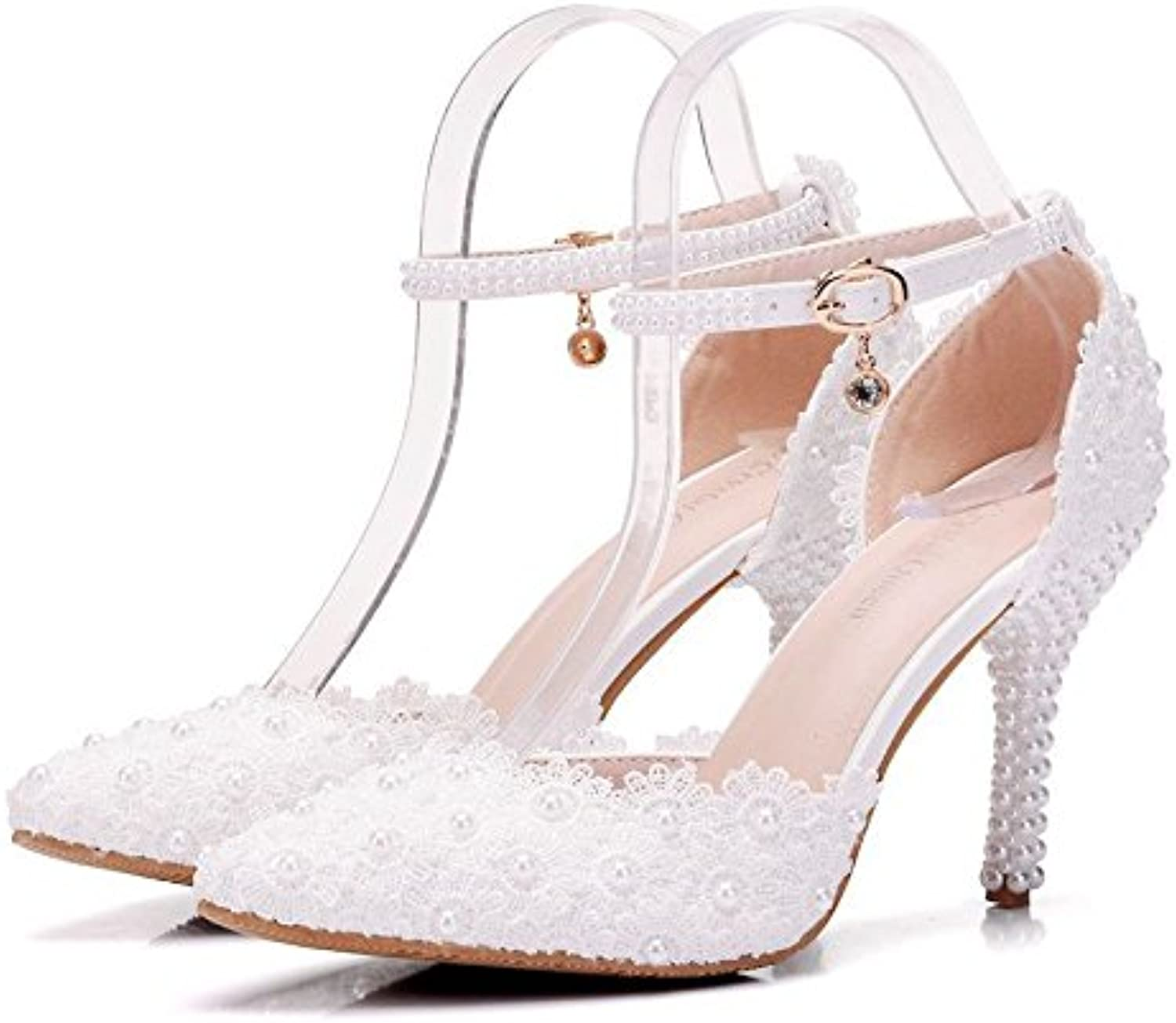 HYP Wedding Women shoes Wedding shoes Women Pumps Closed Toe Wedding Party Court shoes Bridesmaid Bridal shoes Pearl lace fine with