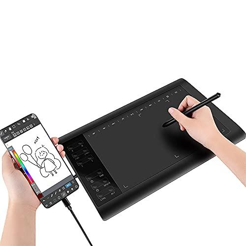 Xyfw Tableta Digital Portátil De 10 * 6 Pulgadas con Conexión De Teléfono Móvil, Tableta De Dibujo A Presión Digital, Tableta Gráfica Interactiva para Dibujar