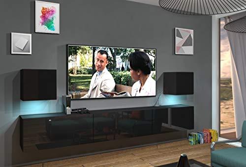 Home Direct Lace N22 1A Modernes Wohnzimmer Wohnwände Wohnschränke Schrankwand Schwarz Weiß Hochglänzend (AN22-18B-HG1 1A (schwarz), LED RGB (16 Farben))