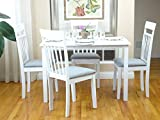 Rattan Wicker Furniture Classic 5-pc Dining Kitchen Set of Rectangular Table and 4 Warm Side Chairs Solid Wood in White Finish