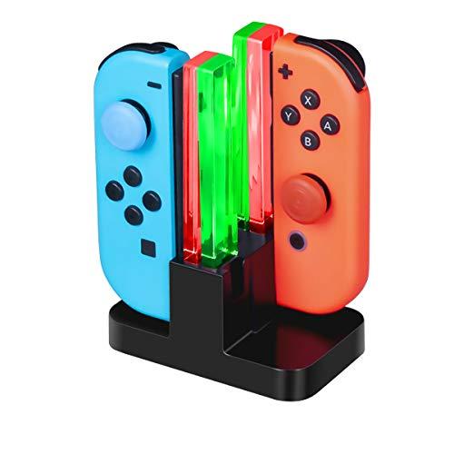 CHEREEKI Ladestation für Joy-Con Controller 4 in 1 Lade Dock für Nintendo Switch JoyCon Ladegerät mit Typ-C Kabel LED Anzeige (Schwarz)