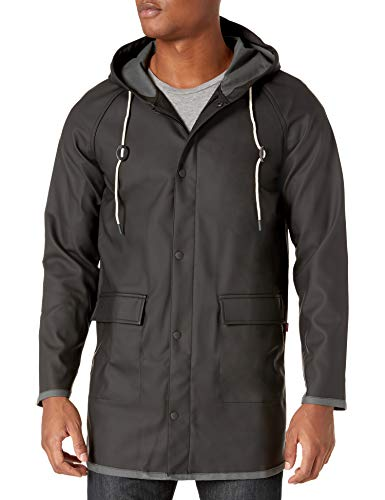 Levi's Men's Rubberized PU Hooded Rain Parka Jacket, Black, X-Large