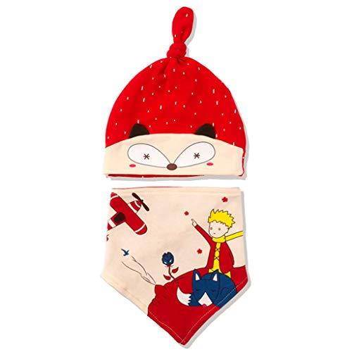 2 unids/set de dibujos animados bebé sombrero babero conjunto lindo impresión niños niñas algodón sombrero punto moda sombreros saliva toalla triángulo cabeza bufanda conjunto