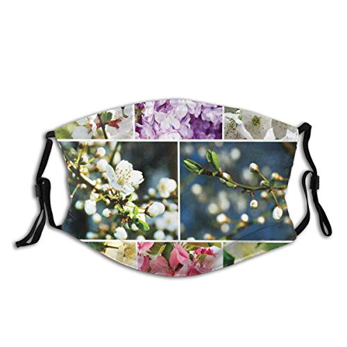 Comfortable Activated Carbon mask,Spring Collage With Twiggy Cherry Blossom Trees And Jasmine Branches,Printed Facial decorations for adult