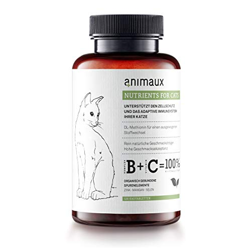 animaux – nutrients for cats | All-Natural Cat Vitamins to Support the Immune System and Cell Protection | Zinc, Manganese, Selenium | Skin and Coat | 120 Chewable Tablets