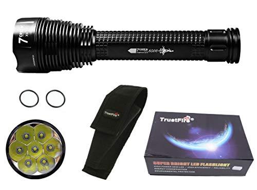 Linterna Trustfire J18 7 Led CREE XML-T6-4200 mAh ultrafire - 8500lm / 1 Modo / 3 baterías. Aguardos, vigilancia, caza, linterna de gran alcance (A - Linterna y funda)