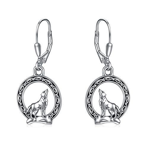 YFN Pendientes Colgantes de Lobo Vikingo Pendientes de Luna de Lobo Celta Nórdico de Plata Esterlina para Mujer