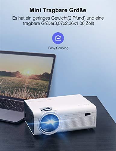 Mini Video Beamer Crosstour Full HD Unterstützt Heimkino Projector LED Handy Tragbar Projektor Kompatibel mit Chromecast/iPhone/Android/TV Box/Tablette - 7