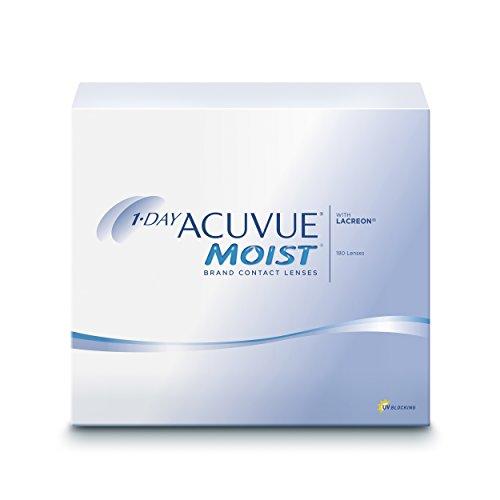 ACUVUE MOIST 1-Day Tageslinsen für empfindliche Augen & Allergiker – Tageskontaktlinsen mit 4 dpt und BC 8.5 – UV Schutz & hoher Tragekomfort – 180 Linsen