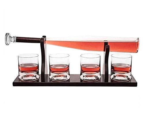 AIEL Whiskey Decanter Crystal Baseball Formado de béisbol Whisky Decanter Set 850ml con 4 Vasos de Gafas para Licor Scotch Bourbon Vodka Vino Matting Best Gift Idea 41