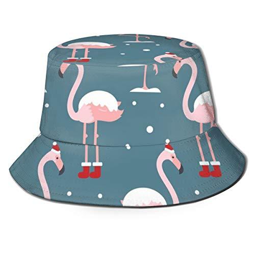 Meiya-Design Sombrero unisex con diseño de flamenco en sombrero de Navidad, sin costuras, patrón en fondo azul, sombreros de pescador para verano al aire libre, plegable, gorra de viaje para playa
