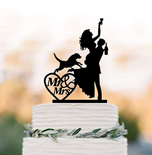 Decoración para tarta de boda, diseño de novia borracha, con silueta de perro, novia y novio, Mr and Mrs in Heart, divertida figura decorativa para tarta