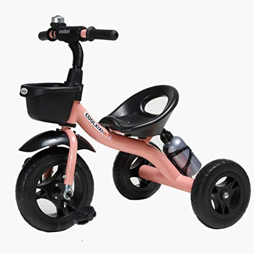 HongTeng Triciclo Rider Trike Moda Bambini Bicicletta Bambini Ride-On Bike con Supporto bollitore, 2-5 Anni all'aperto Outing Toy Car (Color : Pink)