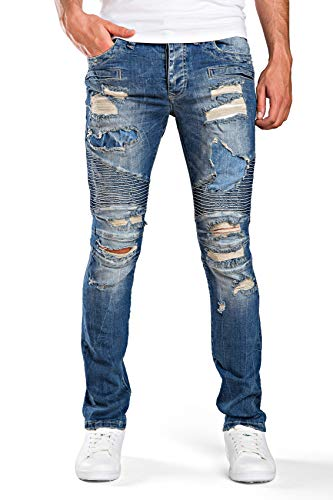 Red Bridge Herren Jeanshose Destroyed Modern Biker Cut Jeans Pant Blau W34 L32
