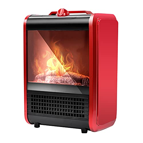 BEYOND BREEZE Portable Fireplace Heater - Electric Freestanding Space Heaters with Realistic 3D Flame Effect 1200W, Overheating Safety Protection, Ideal for Home Office Living Room