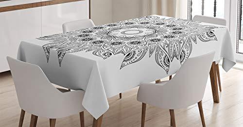ABAKUHAUS Mandala Mantele, Mandala Negro Blanco, Fácil de Limpiar Colores Firmes y Durables Lavable Personalizado, 140 x 200 cm, Blanco Negro