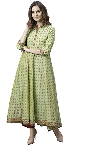 HIRAL DESIGNER Kurta Kurti Indian Ethnic Top Tunic Party Wear Women Dress Ready to Wear (40, Green & Red)