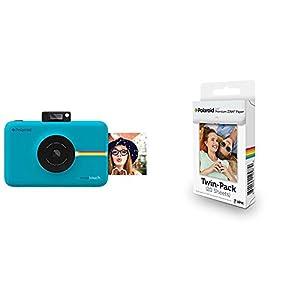 Polaroid SNAP Touch - Cámara digital con impresión instantánea y pantalla LCD (azul) con tecnología Zero Zink + Polaroid Premium Zink Paper - Paquete de 20 papeles fotográficos (compatibles con Polaroid Snap Z2300, Socialmatic y la impresora móvil ZIP, 5 x 7.6 cm), color blanco