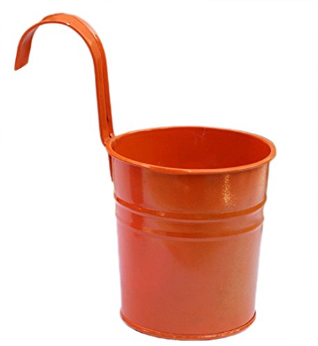 Chytaii 3X Pot de Fleur Suspendus en métal pour Balcon Jardin Maison Décoration/Crochet Amovible (Orange)
