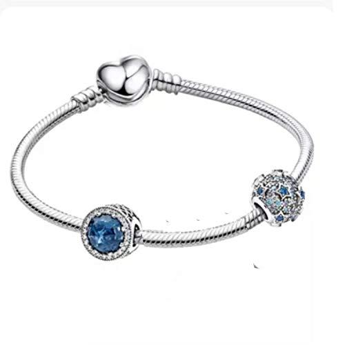 belinia prestige - Brazalete Pandora, Estilo- Pulsera con dijes de corazón + Charm de Oro Rosa + Joyero para Pulsera y Charm (Bleu, 17)