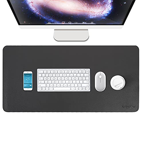 Alfombrilla Ratón, WisFox XXL Alfombrilla de Ratón Gaming, 800 x 400 mm, Mouse Pad de PU Antideslizante con Superficie Impermeable para PC Portátile Oficina Casa, Gris