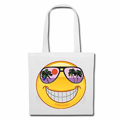Tasche Umhängetasche Smiley IM Urlaub AUF Hawaii MIT Sonnenbrille Smileys Smilies Android iPhone Emoticons IOS GRINSE Gesicht Emoticon APP Einkaufstasche Schulbeutel Turnbeutel in Weiß