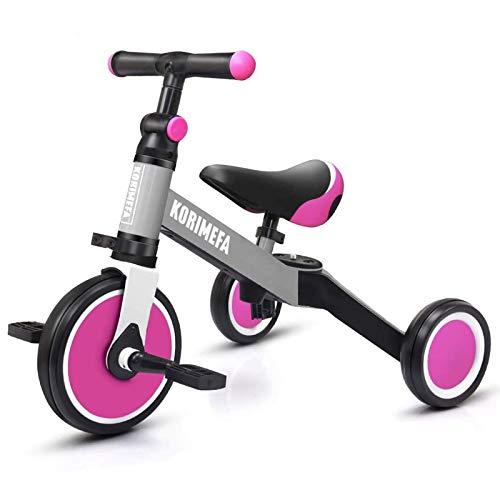 KORIMEFA 3 in 1 Triciclo Bambini 1 Anno Bicicletta Senza Pedali 2 Anni Bambini Triciclo per Bambini 1-3 Anni (Rosa + Grigio)