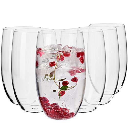 Krosno Wassergläser Saftgläser Trinkgläser | Set von 6 | 510 ML | Blended Kollektion | Perfekt für zu Hause, Restaurants und Partys | Spülmaschinenfest und Mikrowellengeeignet