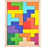 GYBBER&MUMU Wooden Puzzle Colorful Tangram Color and Shape Jigsaw Puzzle Developmental Learning Toys