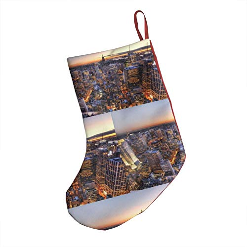PhyShen New York Center Rockefeller Christmas Stockings Xmas Gifts Party Decorationst 18-Inch Length Fireplace Hanging Stockings for Xmas Tree Holiday Family Party