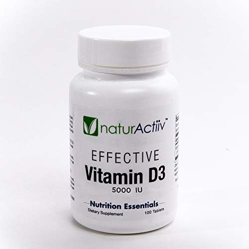 Vitamin D3 5000 IU by naturActiiv - Effective High Potency Professional Quality Pure VIT D3 Ends VIT D Deficiency - No Oils/No GMO - Easy to Digest -100 Microtabs