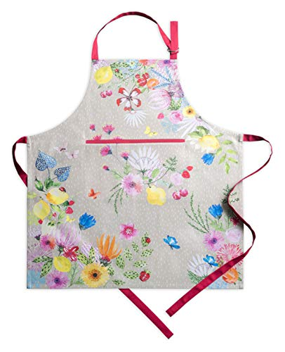 Maison d'Hermine Jardin D'Ete - Nebel 100% Baumwolle 1-teilige Küchenschürze mit verstellbarem Hals, versteckte Mitteltasche mit Langen Krawatten für Frauen   Männer   Frühling/Sommer(70 cm x 85 cm)