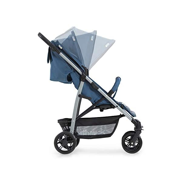 Hauck Rapid 4, 0 Months to 22 kg, Foldable, Compact, with one Hand, with Sleep Position, Height Adjustable Handle, Large Basket - denim/grey, Rapid 4, Up to 25 Kg Hauck Easy folding this pushchair is as easy to fold away as possible - the comfort stroller can be folded with one hand only within seconds, leaving one hand always free for your little ray of sunshine Long use this buggy can be used for a very long time. it is suitable from birth (also compatible with 2in1 carrycot or comfort fix infant car seat) up to a maximum of 22kg Comfortable back friendly push handle adjustable in height, the hood extendable; suspension, swivelling front wheels, soft padding, and large shopping basket 26