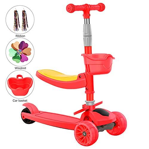 Vinteky 2 en 1 Patinete de 3 Ruedas de LED Luces para Niños de 2-8 Años Scooter Plegable Patinete Infantil Manillar Altura Ajustable (Rojo)