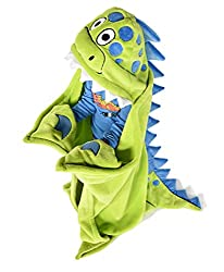 3. Lazy One Hooded Dinosaur Blanket